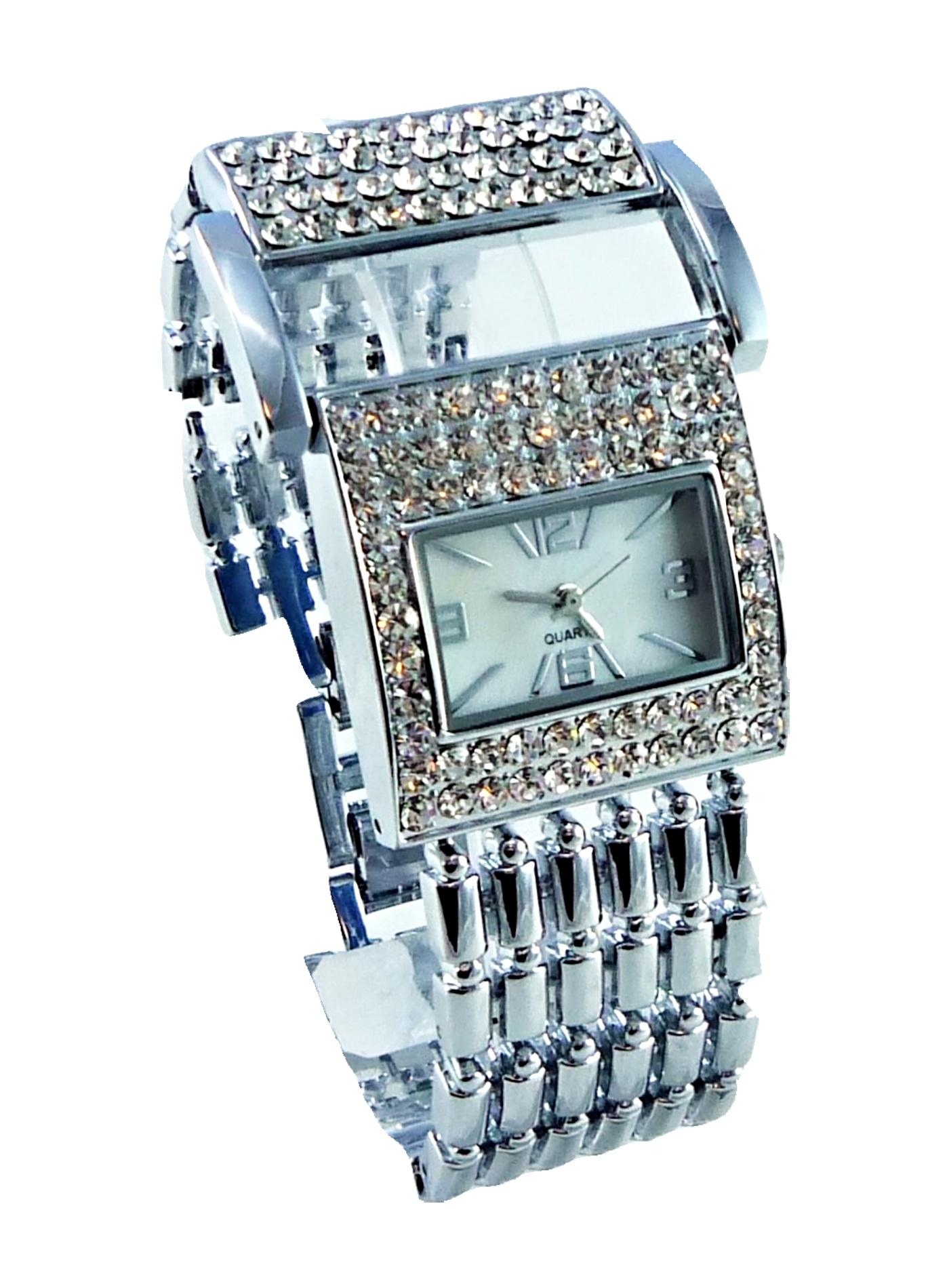 Dámské hodinky s kamínky Exlusiv SILVER white 114D