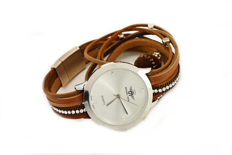 Dámské hodinky Michael John Ketty stříbrno-hnědé 640D