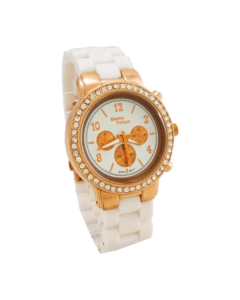 Dámské hodinky Vivien zlato-bílé 148D