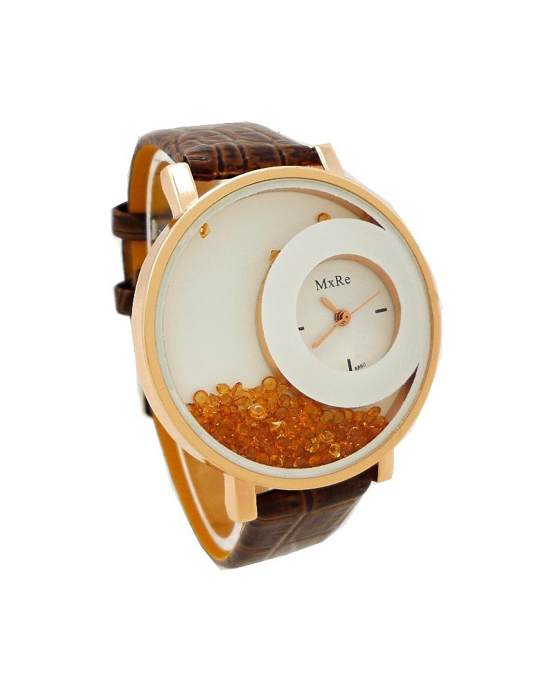 Dámské hodinky s plovoucími kamínky MXRE hnědé 095D