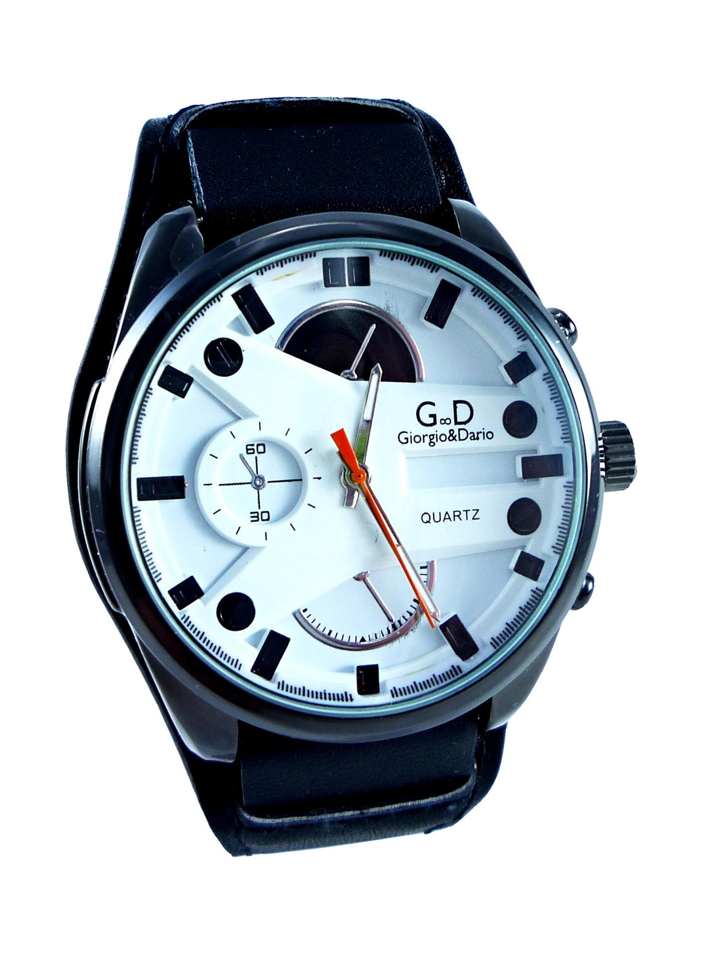 Pánské kožené hodinky GD Time black 080P