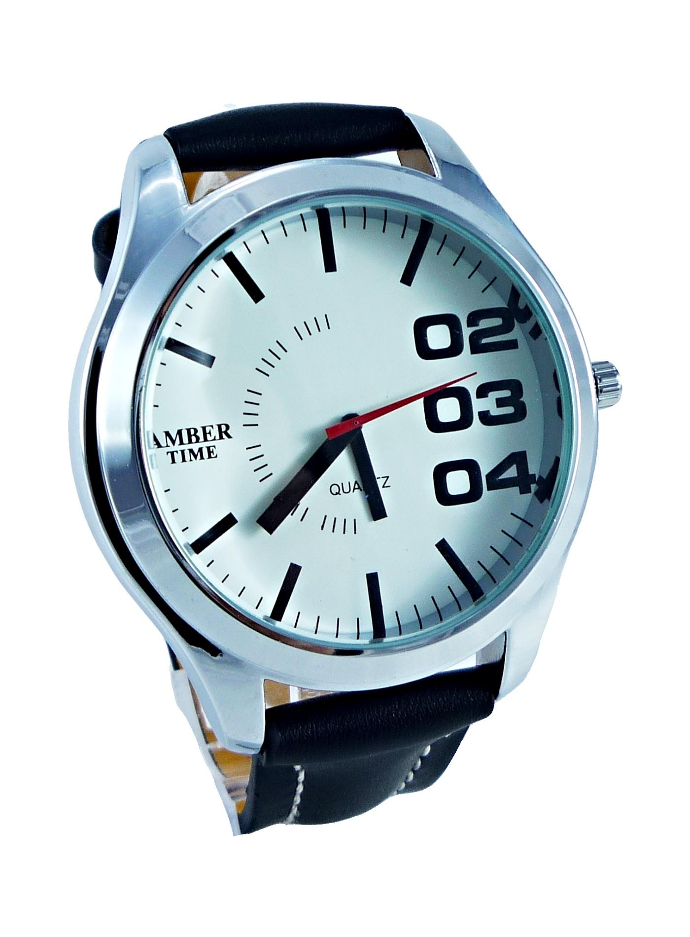 Pánské kožené hodinky AMBER Time černé 077P