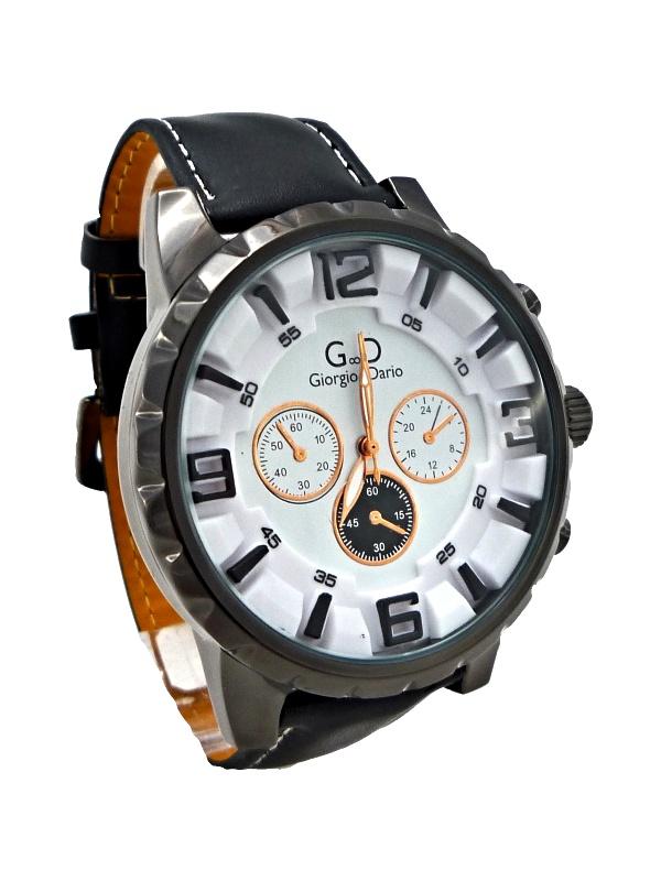 Pánské kožené hodinky GD Time černé 079ZP
