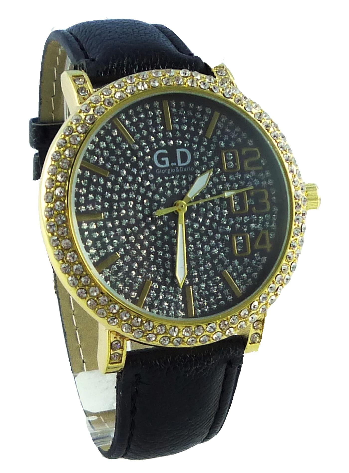 Dámské hodinky G.D. černo-zlaté 029D
