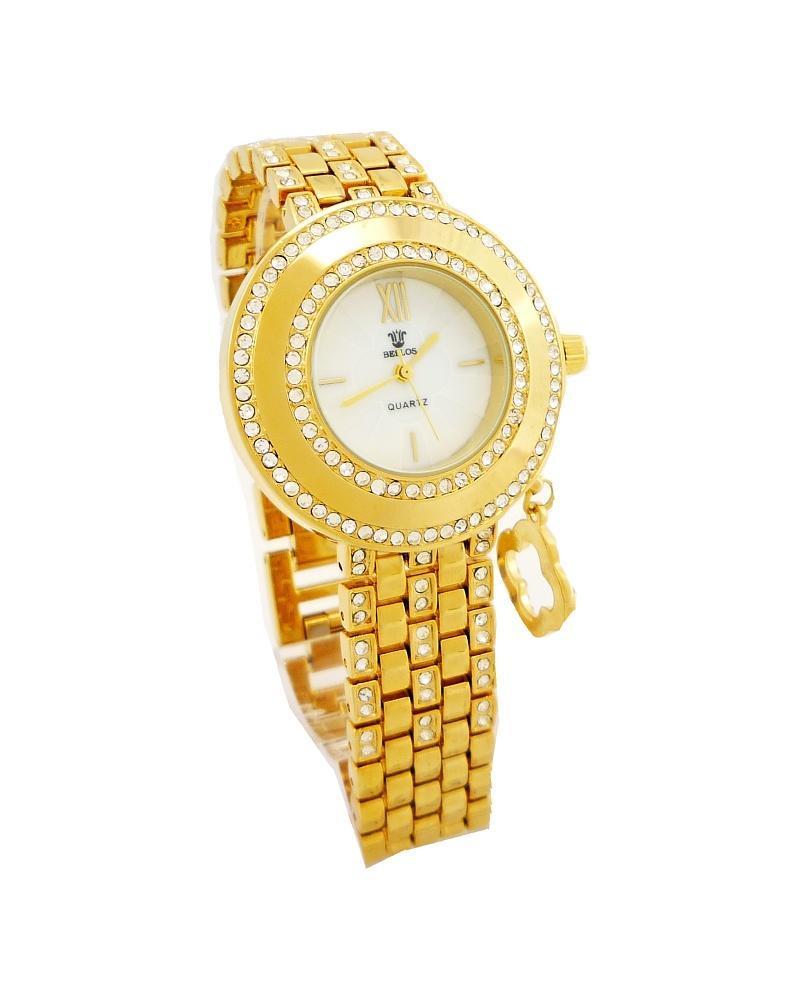 Dámské hodinky s kamínky Bellos Dual zlaté 173D