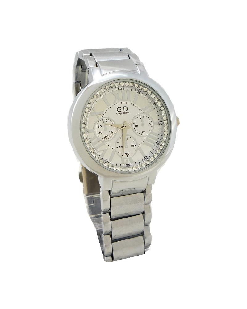 Dámské hodinky s kamínky GD Time stříbrné 048D