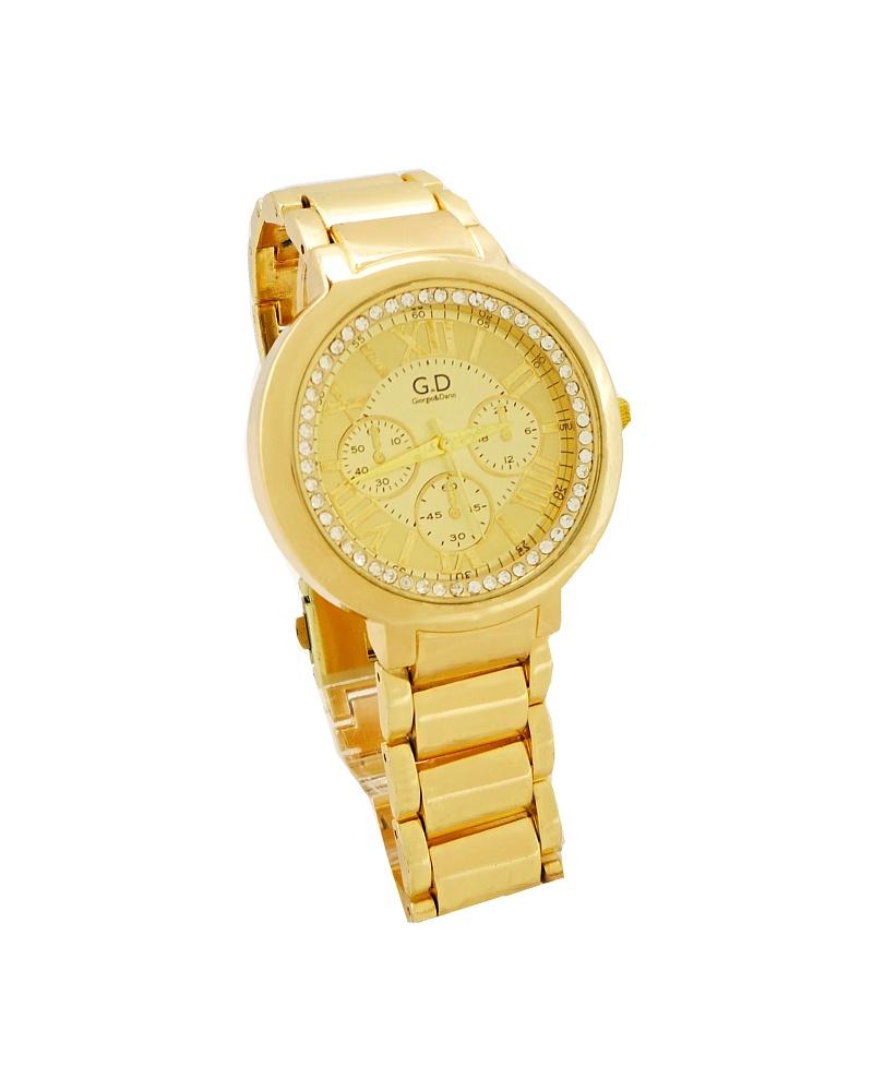 Dámské hodinky s kamínky GD Time zlaté 153D c31d8db4d7