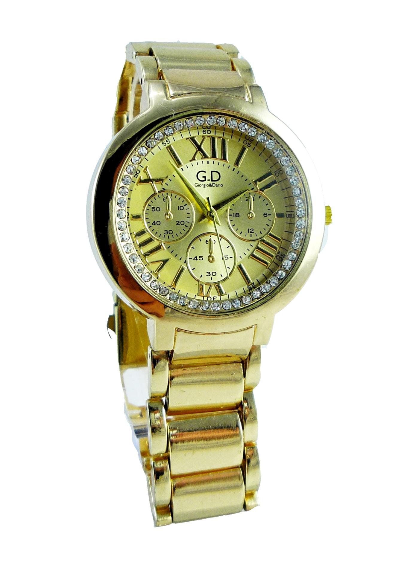 Dámské hodinky s kamínky GD Time zlaté 153D