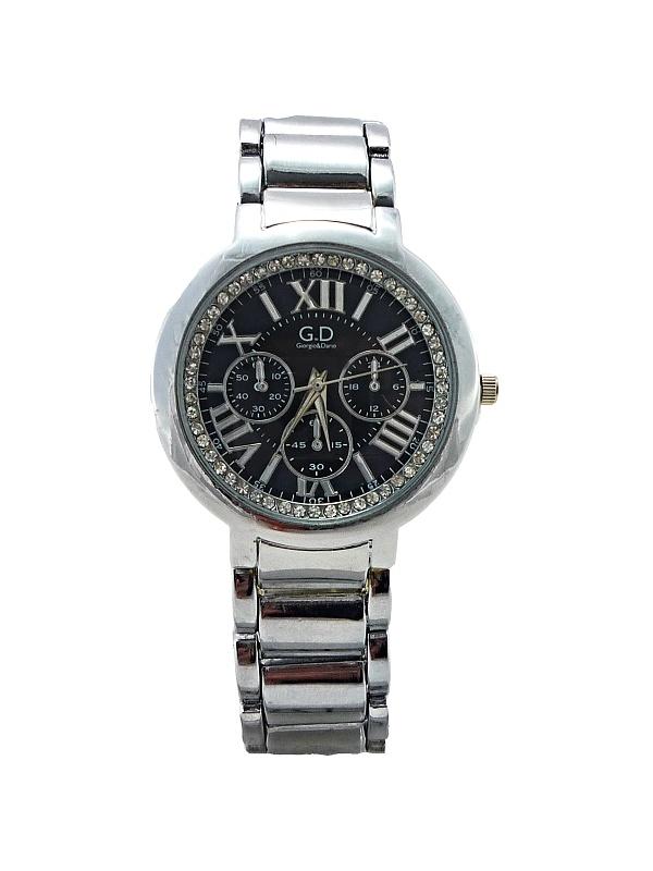 Dámské stříbrné hodinky s kamínky GD Silver Time black 134D
