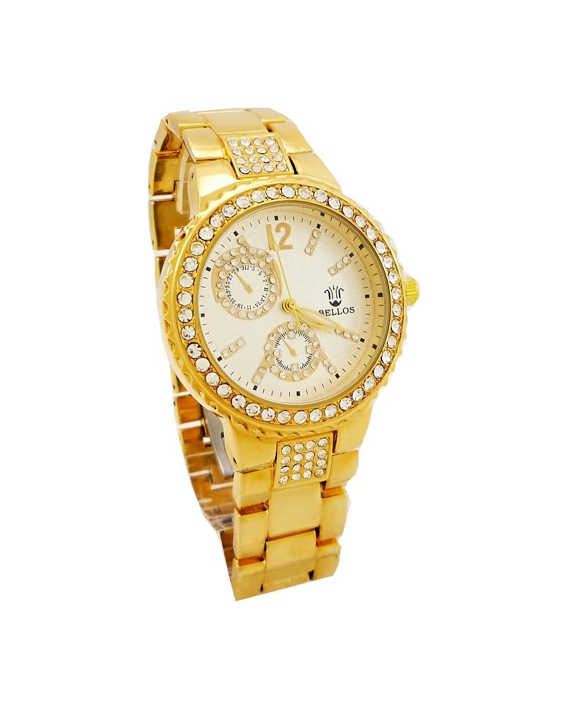Dámské hodinky zdobené křišťály Bellos zlaté 069D