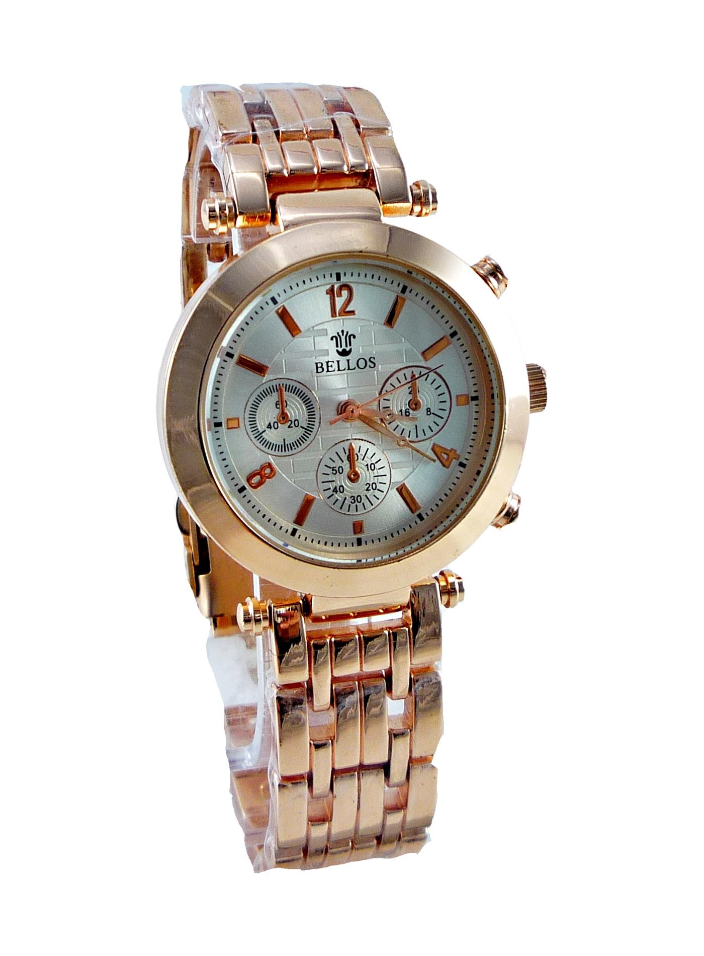 Dámské zlaté hodinky BELLOS Pink gold 187D