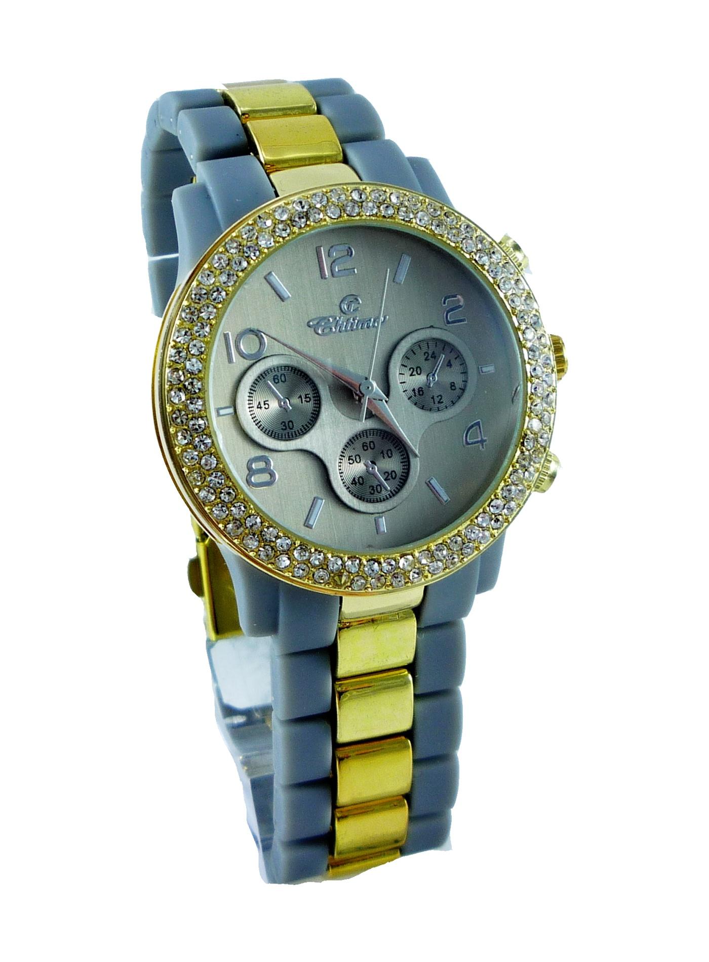 Dámské zlaté hodinky GOLD grey STIME 188D