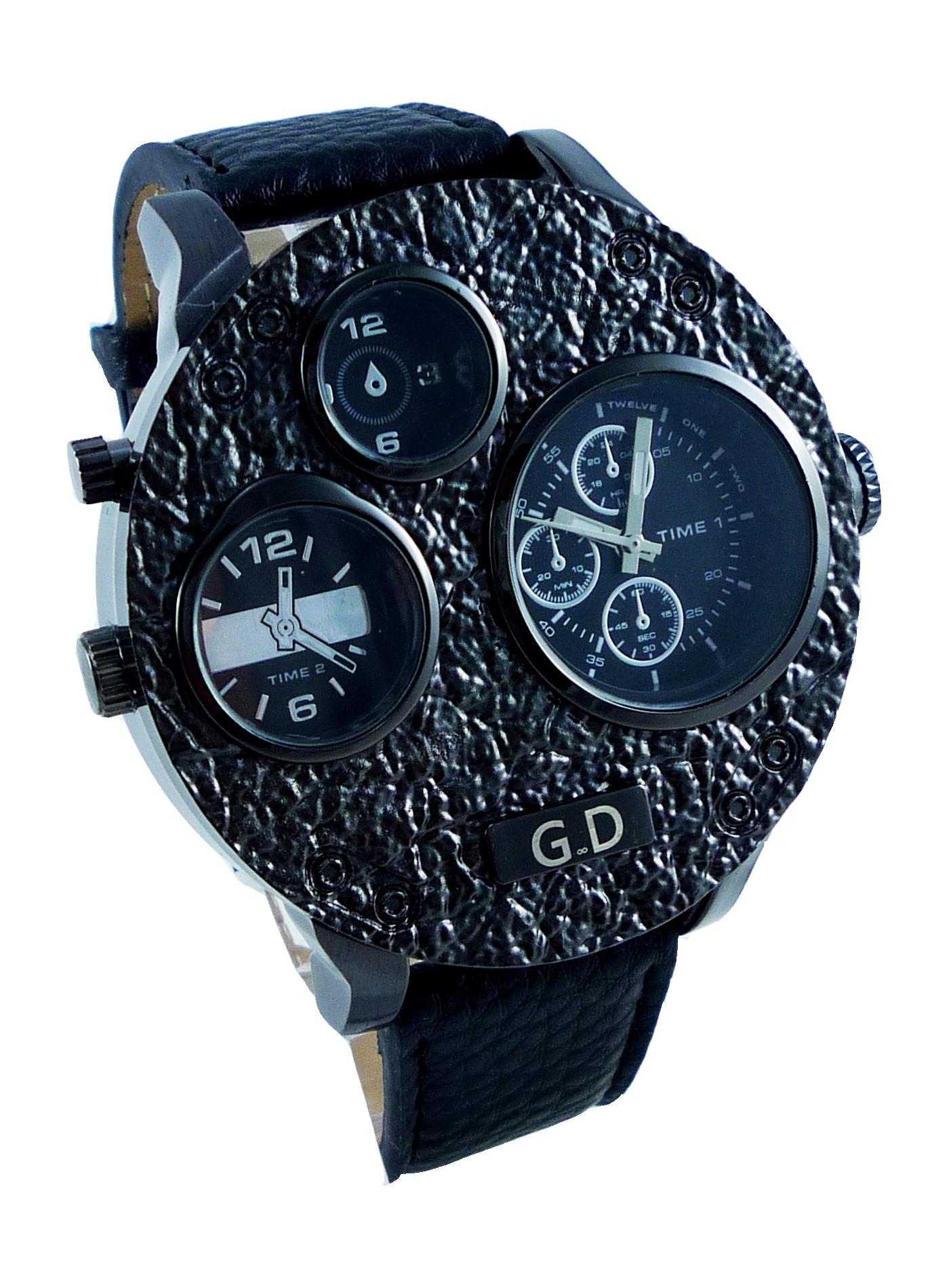 Pánské kožené hodinky G.D BIG černé 087P