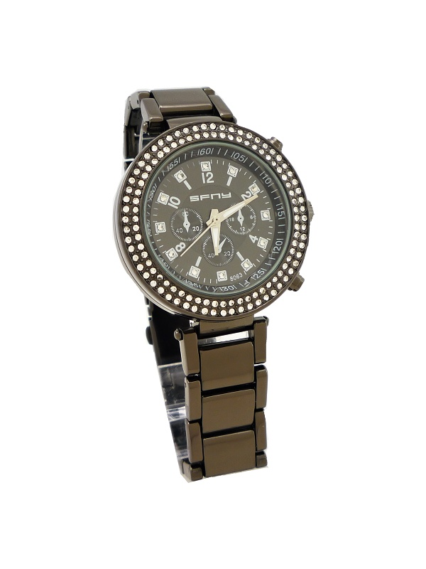 Dámské hodinky s kamínky SFNY tmavě hnědé 040D