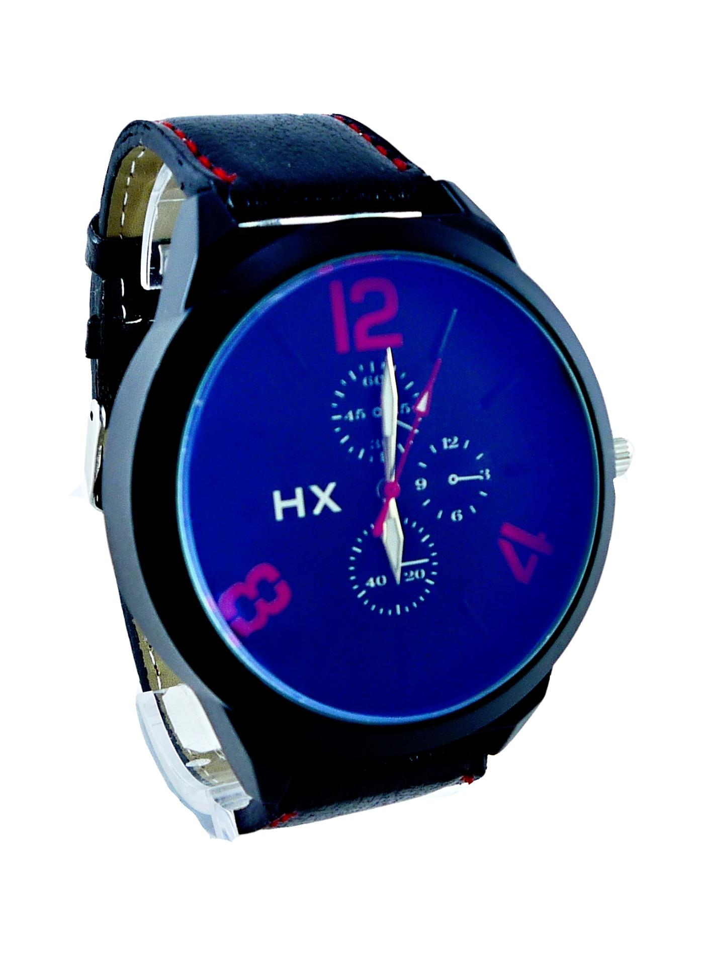 Pánské kožené hodinky HX černé 090P