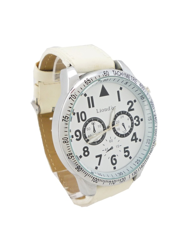 Pánské kožené hodinky LIONDOR bílé 091P 6a83d183e11
