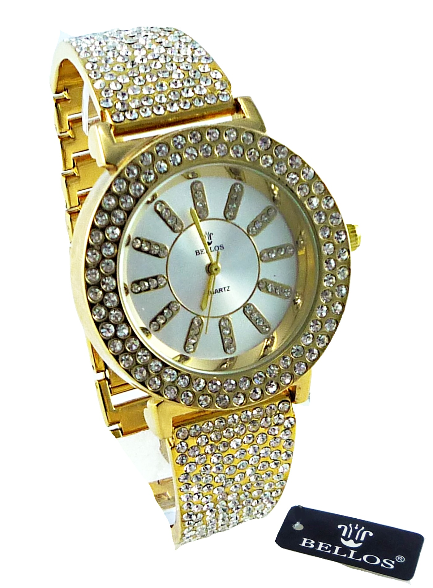 Zlaté dámské hodinky s kamínky Bellos Quatrz 055D
