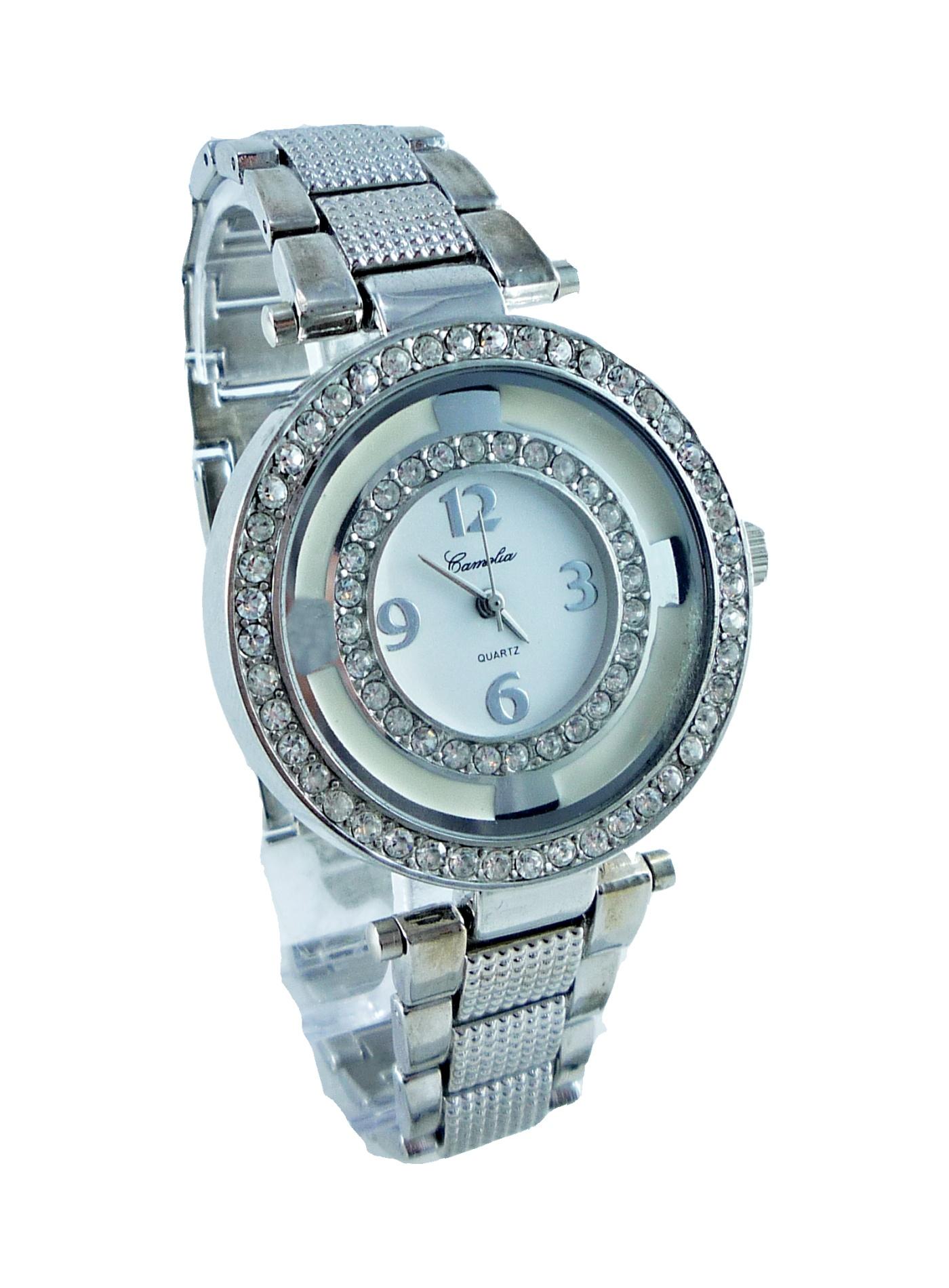 Dámské stříbrné hodinky s kamínky CAMELIA Duo zirkon 193D