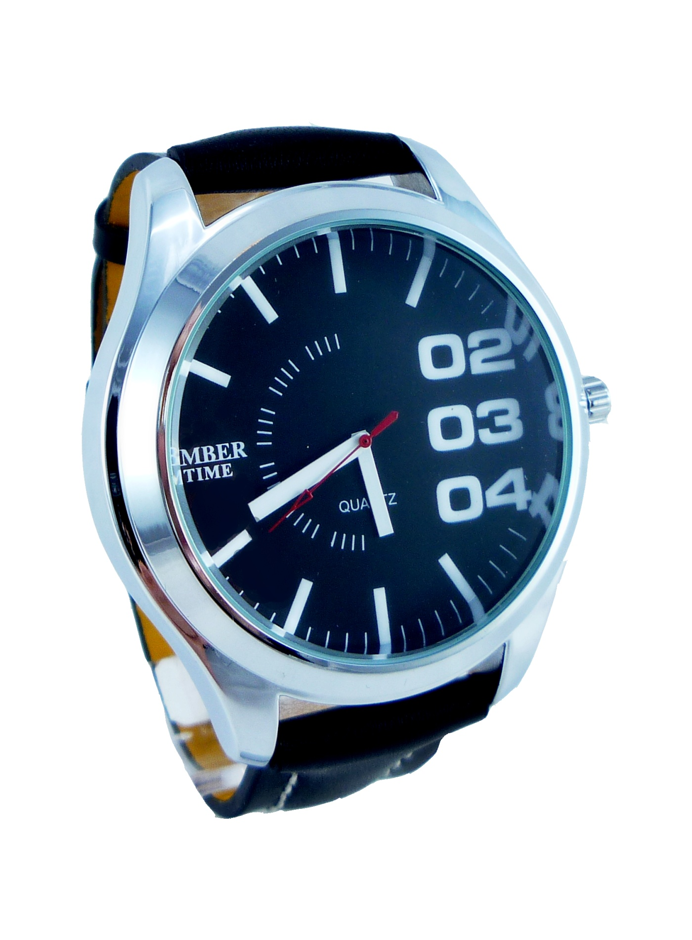 Pánské kožené hodinky AMBER Time black 098P