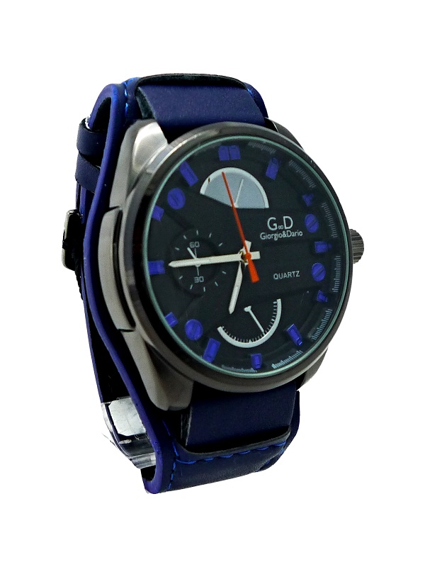 Pánské kožené hodinky GD Time BLACK blue 097P