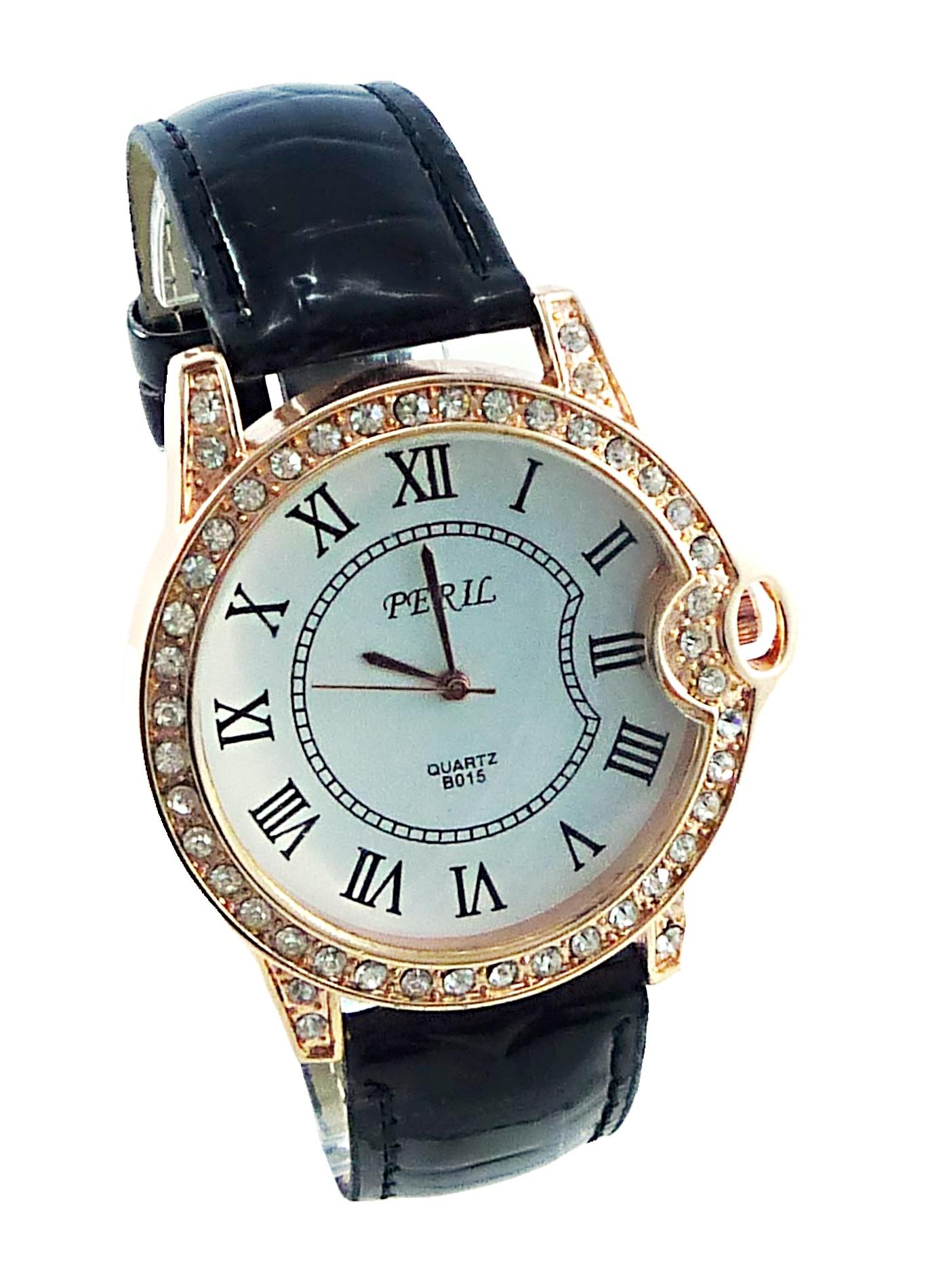 Dámské hodinky s kamínky Peril Black 099D