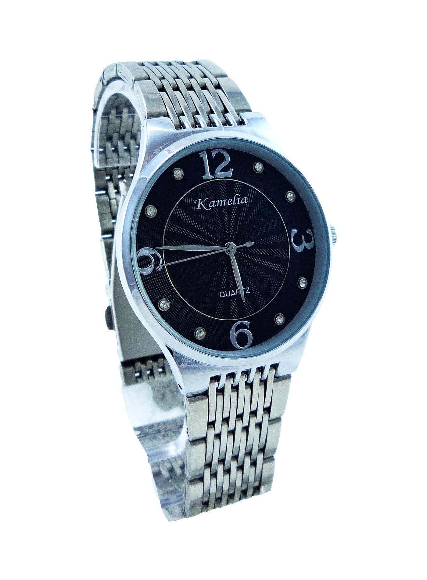 Dámské stříbrné hodinky KAMELIA Silver black 145D