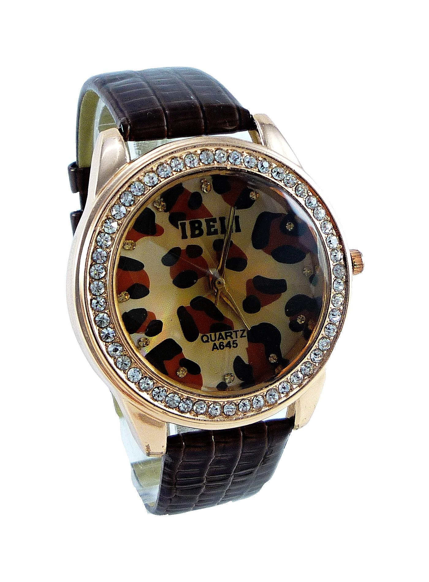 Dámské kožené hodinky IBELI Tygrid brown 107D