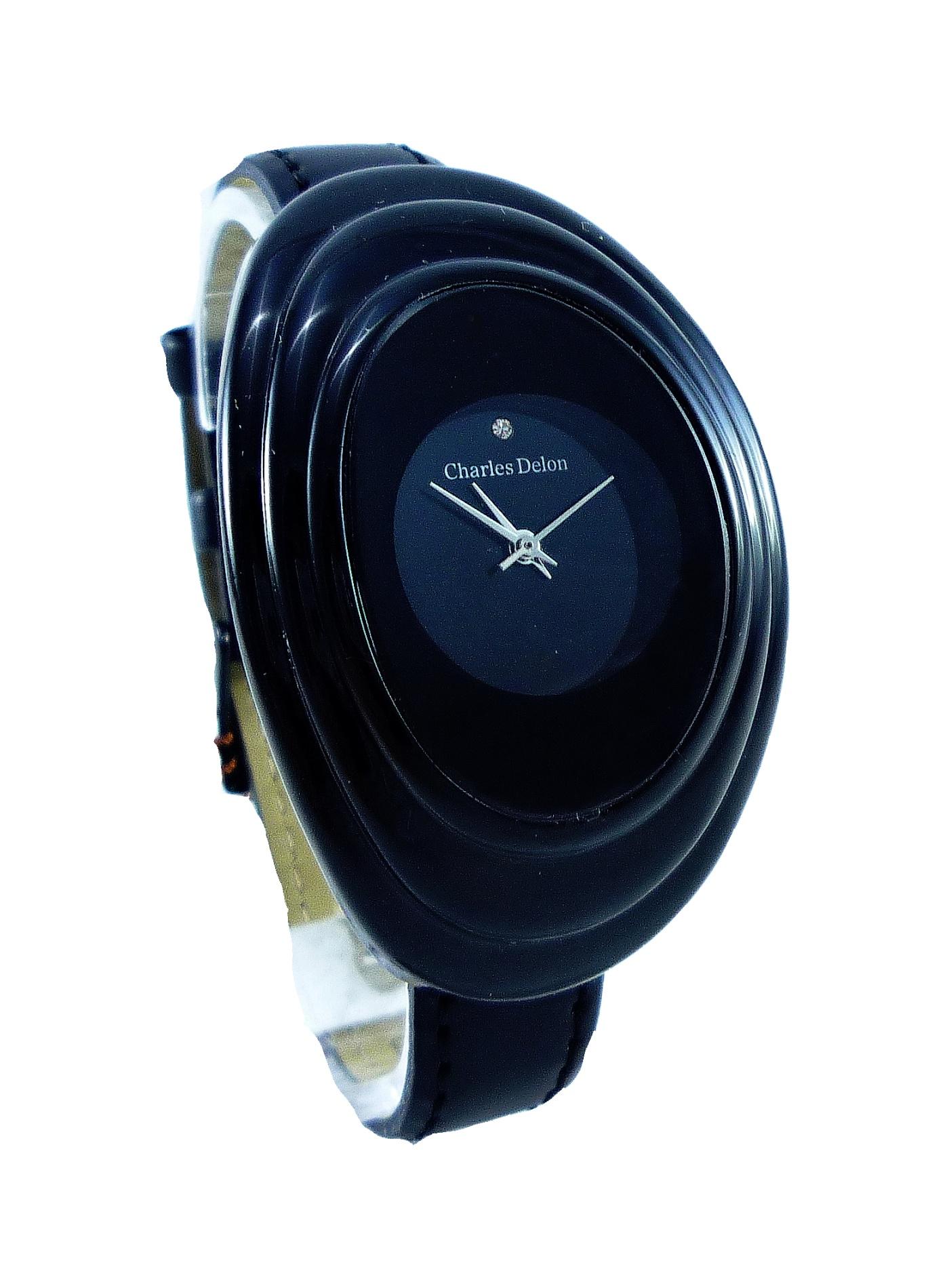 Dámské černé hodinky CHARLES DELON black 014D