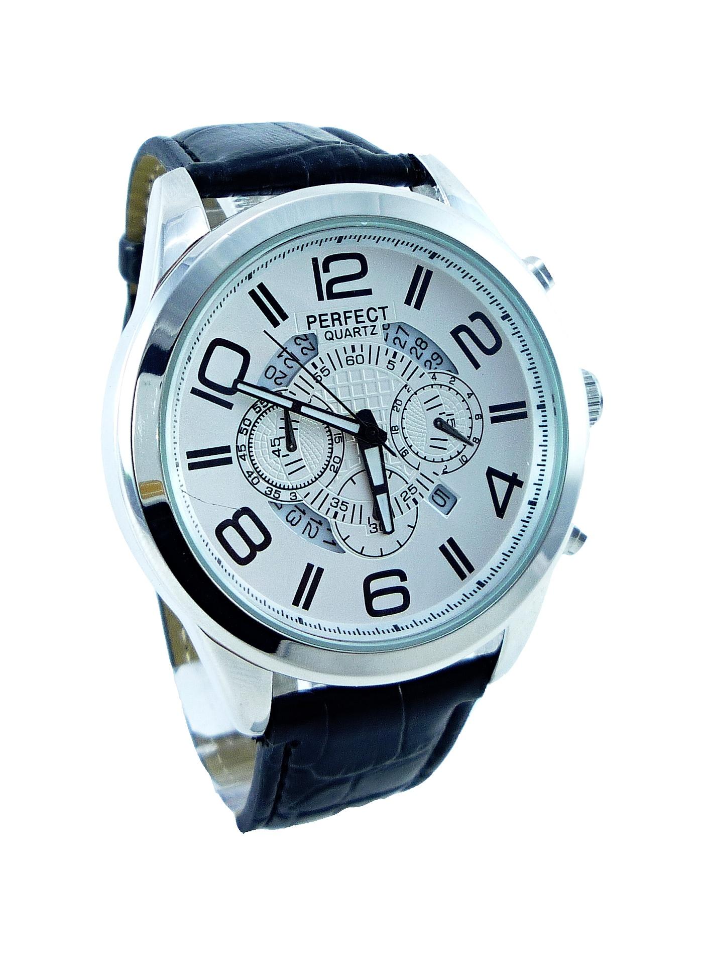 Pánské kožené hodinky PERFECT Silver date 043P