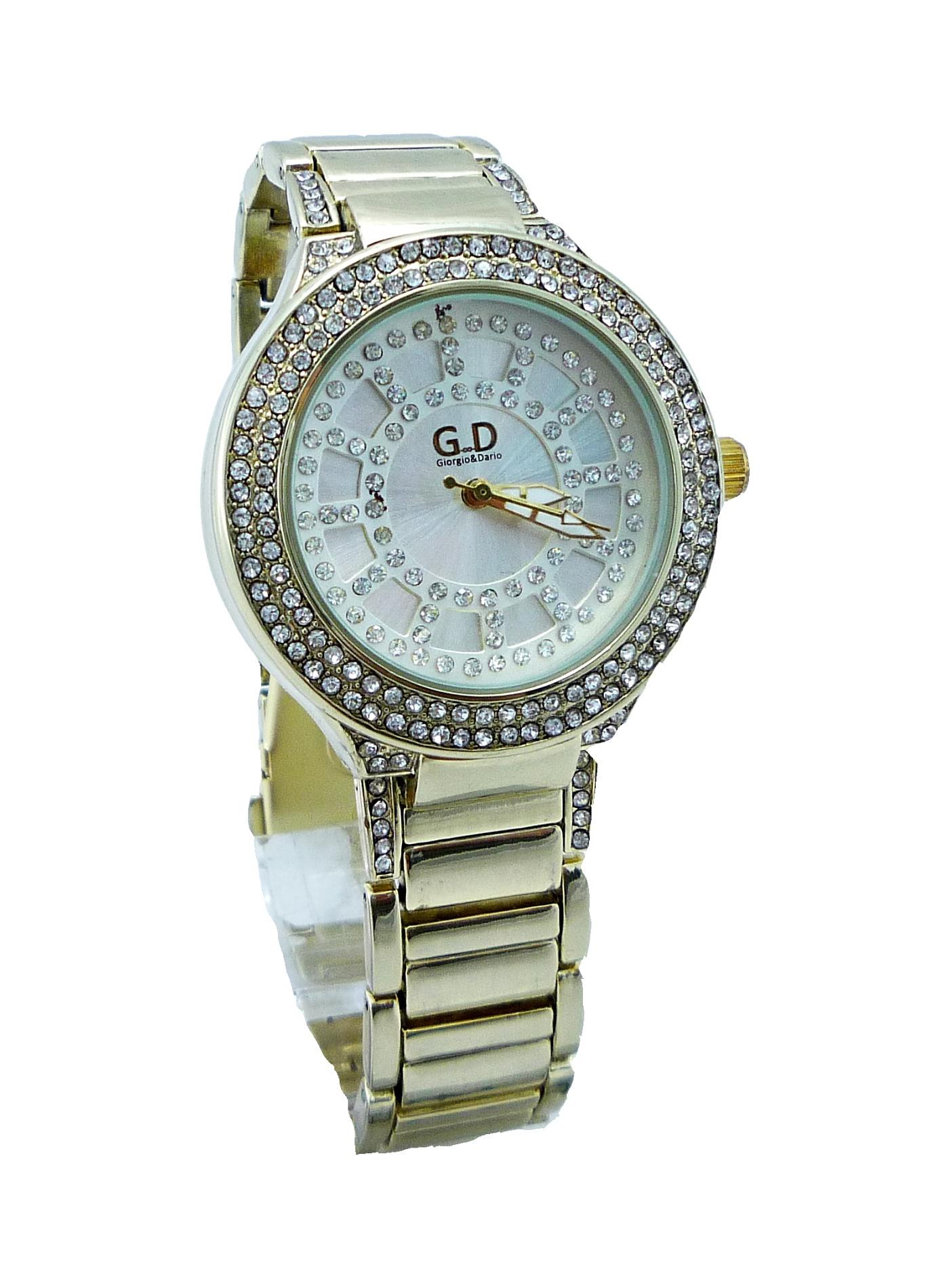 Dámské zlaté hodinky s kamínky G.D Gold Extra 089D