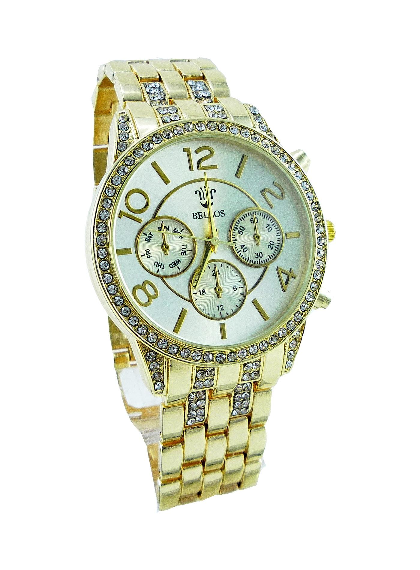 Dámské zlaté hodinky BELLOS Gold Extravagans 090D