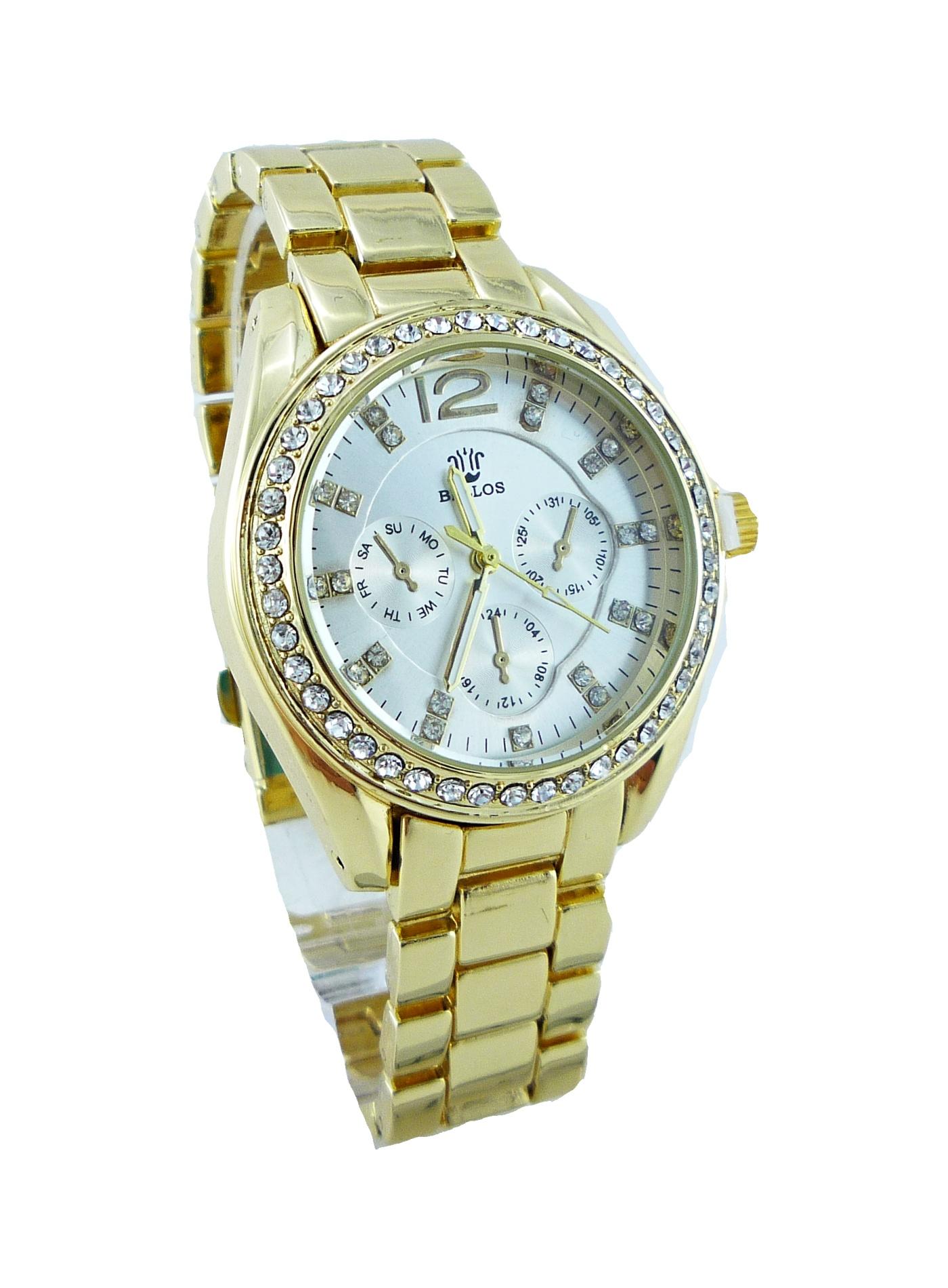 Dámské zlaté hodinky BELLOS Gold white 073D