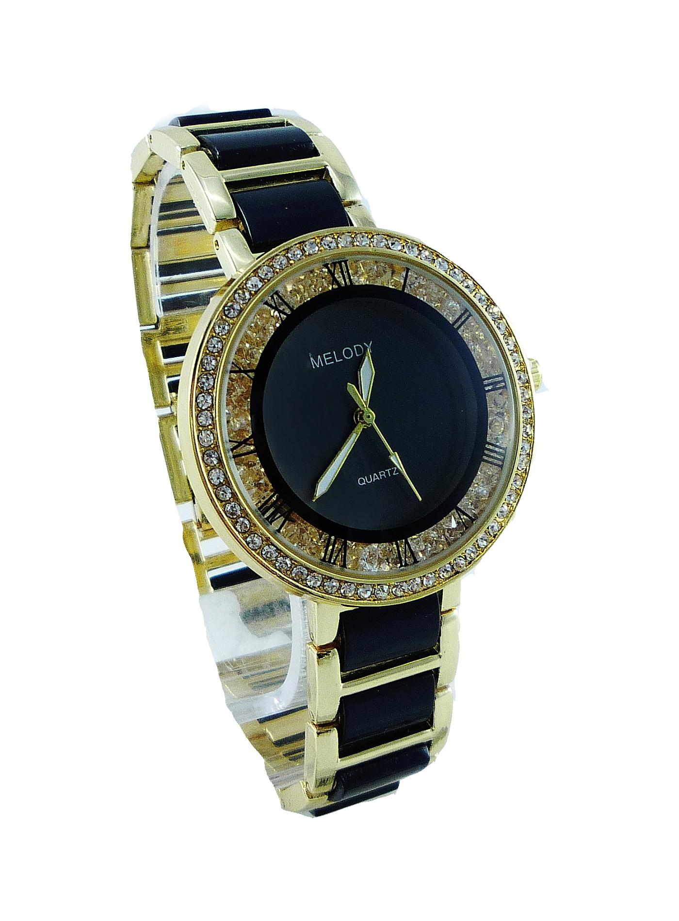 Dámské hodinky zlato-černé s kamínky MELODY Gold black 013D