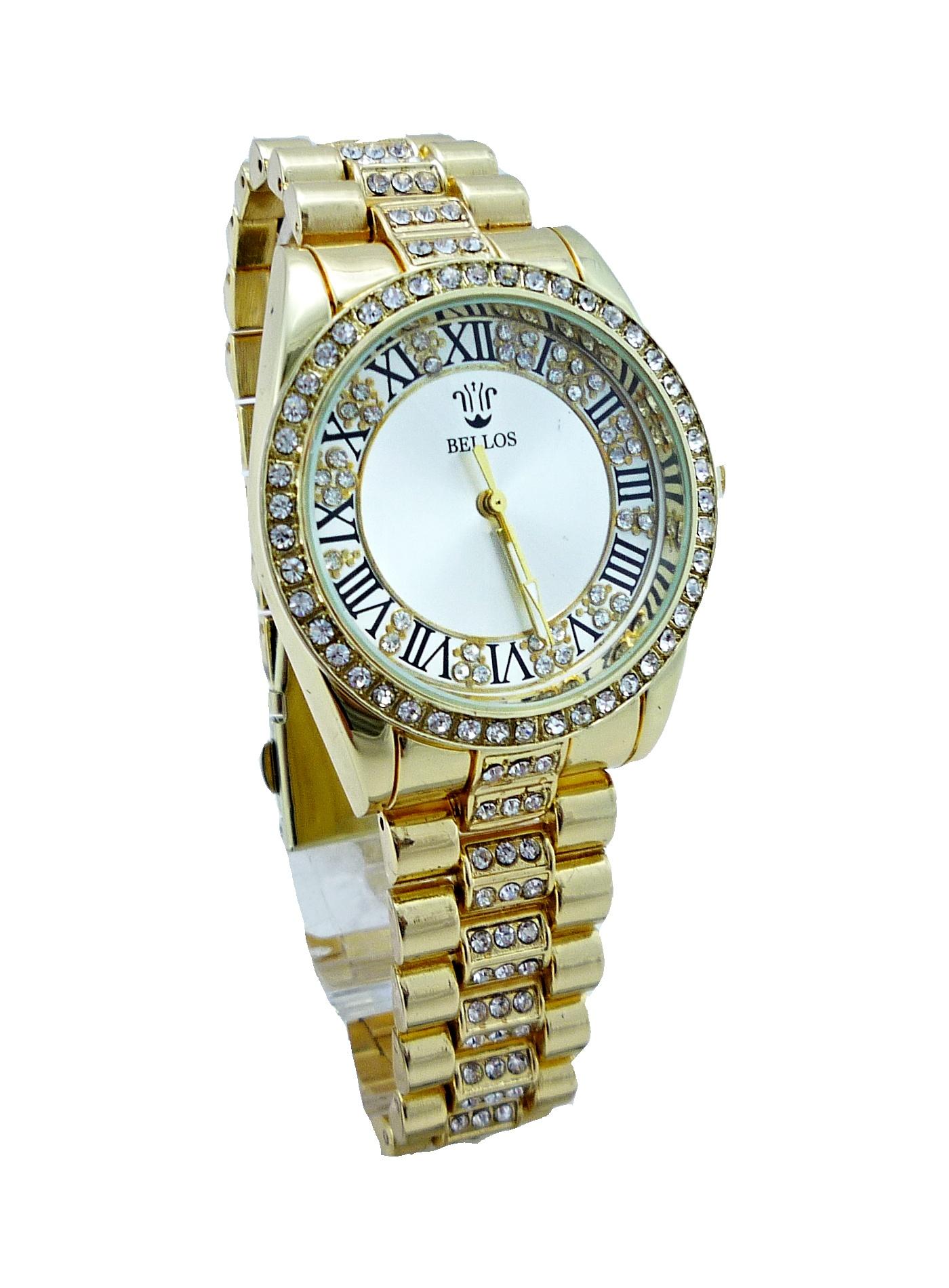 Dámské zlaté hodinky Bellos Elegant 082D