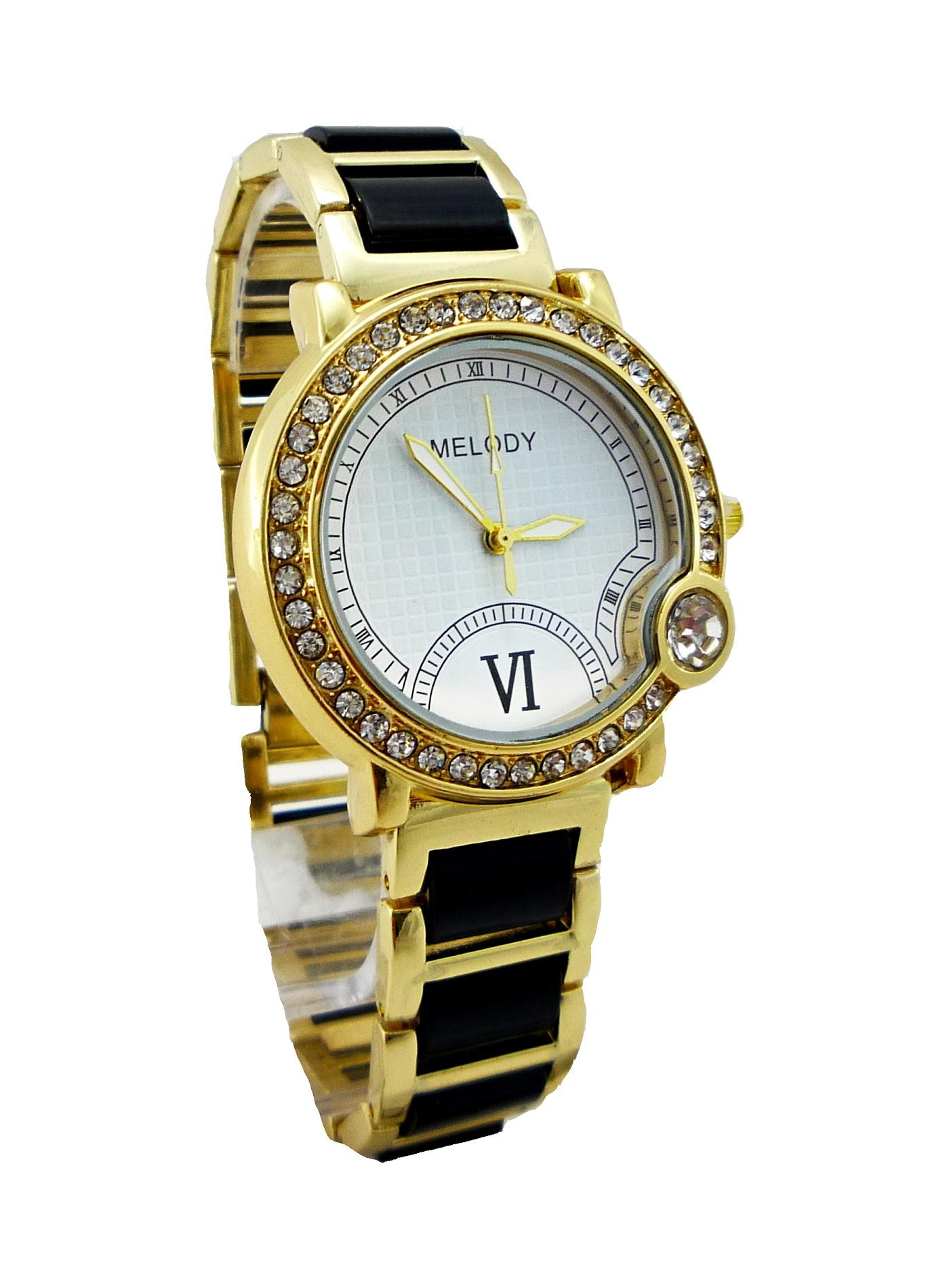 Dámské hodinky Melody černo-zlaté 135D