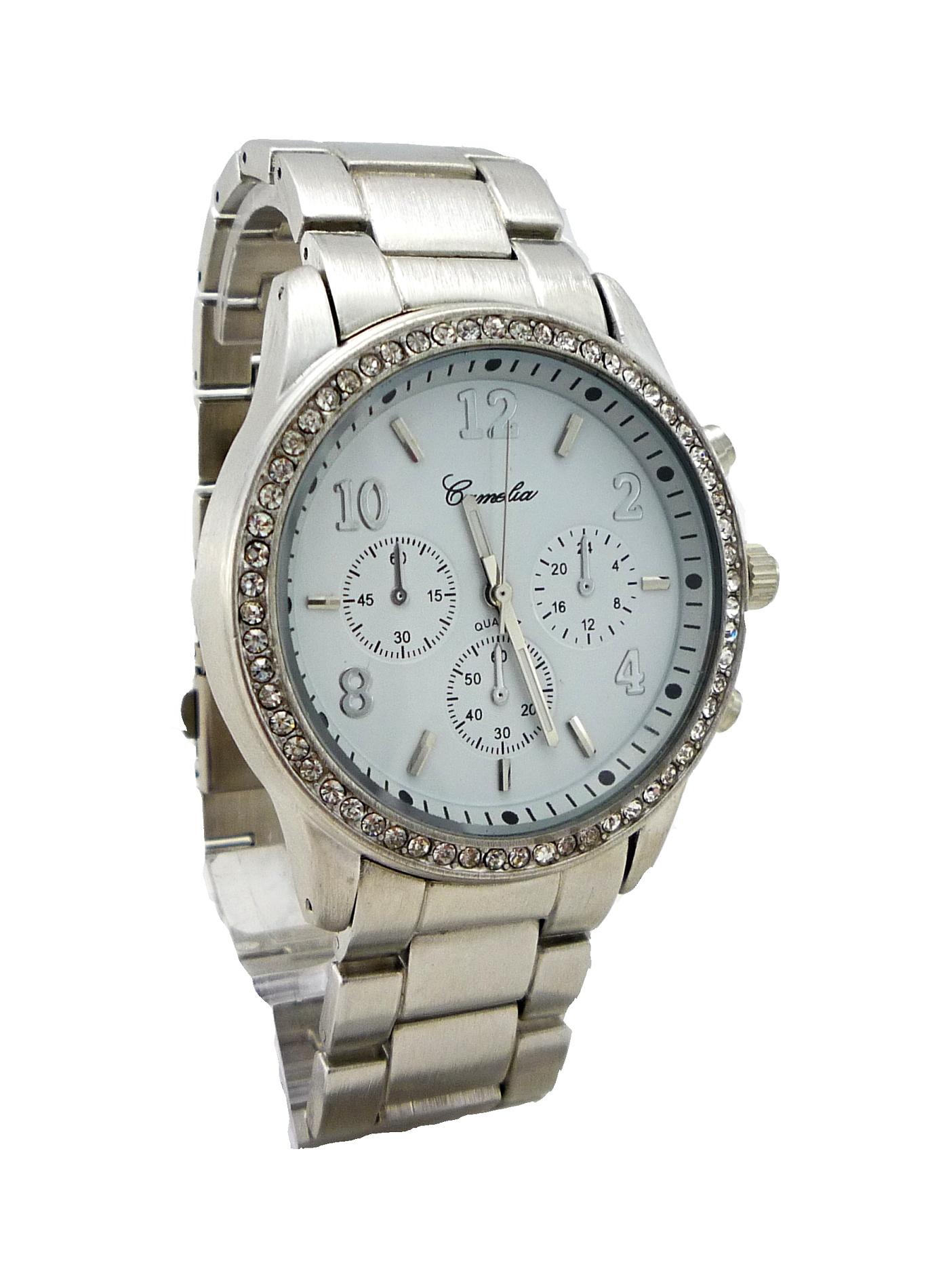 Dámské hodinky CAMELIA Silver s kamínky 030D