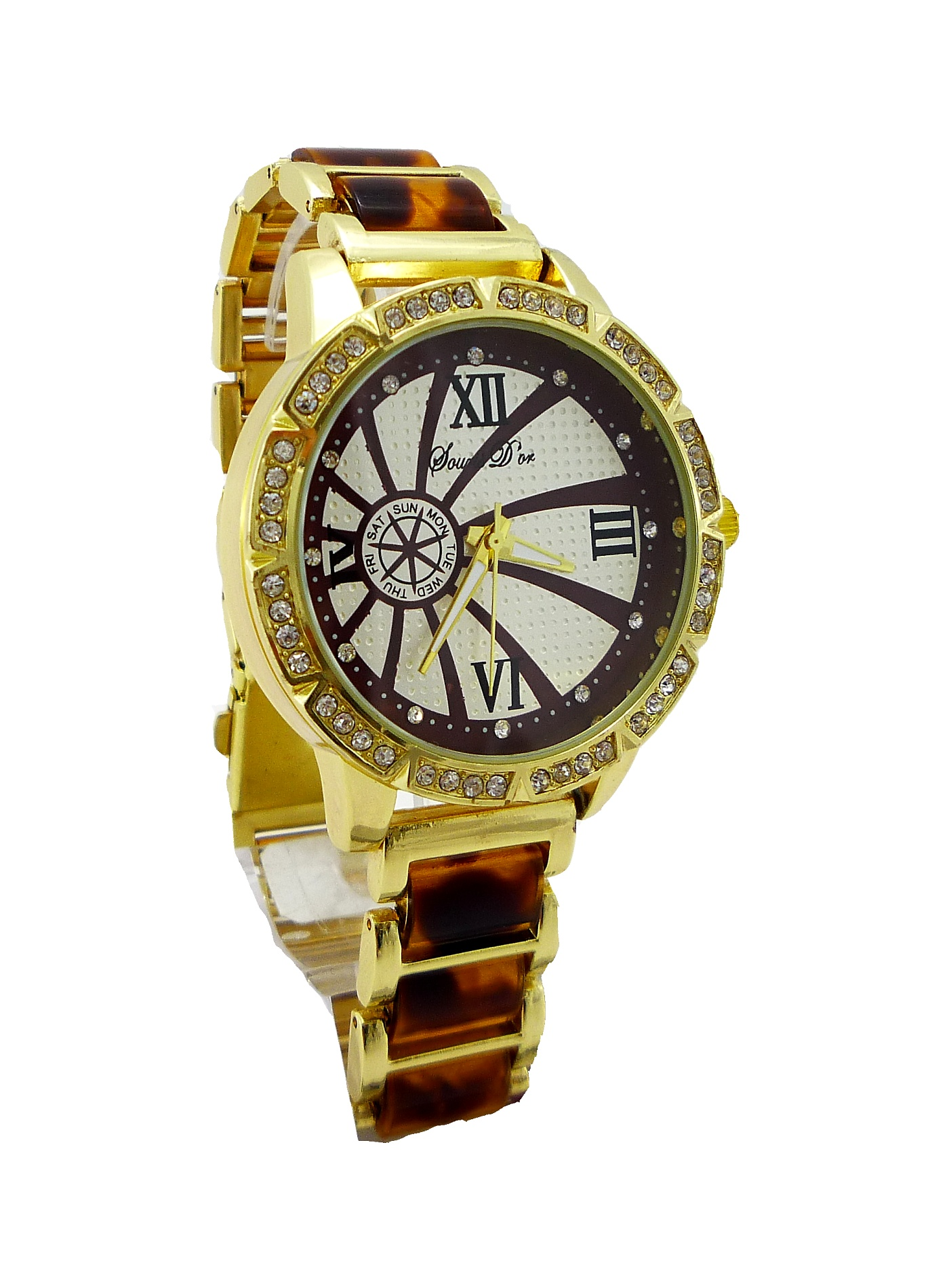 7867b153d Dámské hodinky Douris Door zlato-hnědé 008D   thodinky.cz