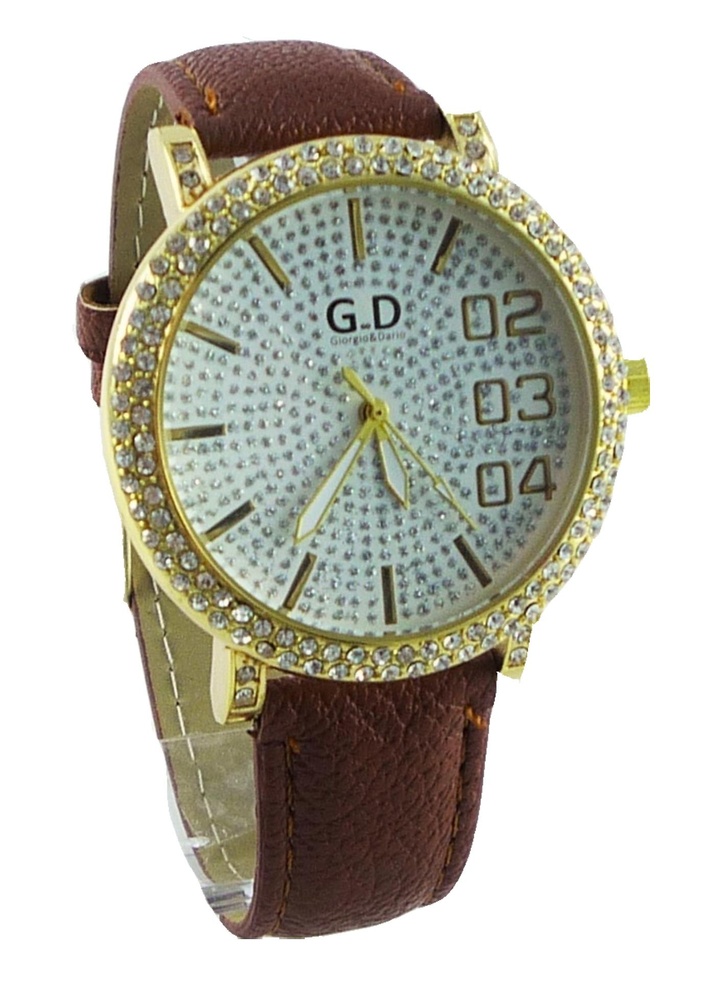 Dámské hodinky GD hnědo-zlaté 025D