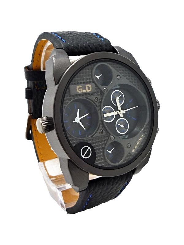 Pánské kožené hodinky G.D Black extravagans blue 227P