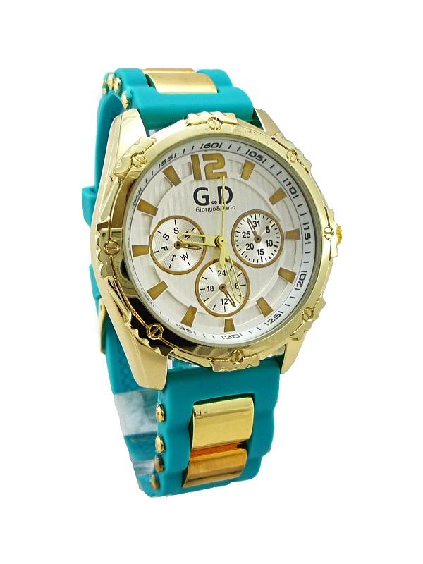 Dámské hodinky G.D tyrkysovo-zlaté 230D