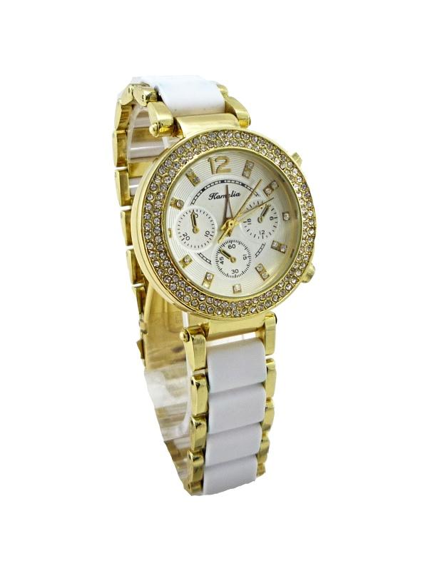 Dámské hodinky Kamelia bílo-zlaté 236D