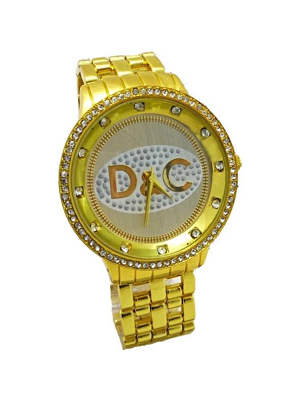 Dámské zlaté hodinky s kamínky Bellos DC 239D