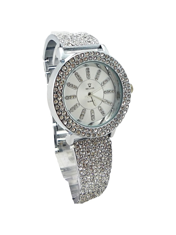 Dámské hodinky s kamínky Bellos Quatrz silver 248D