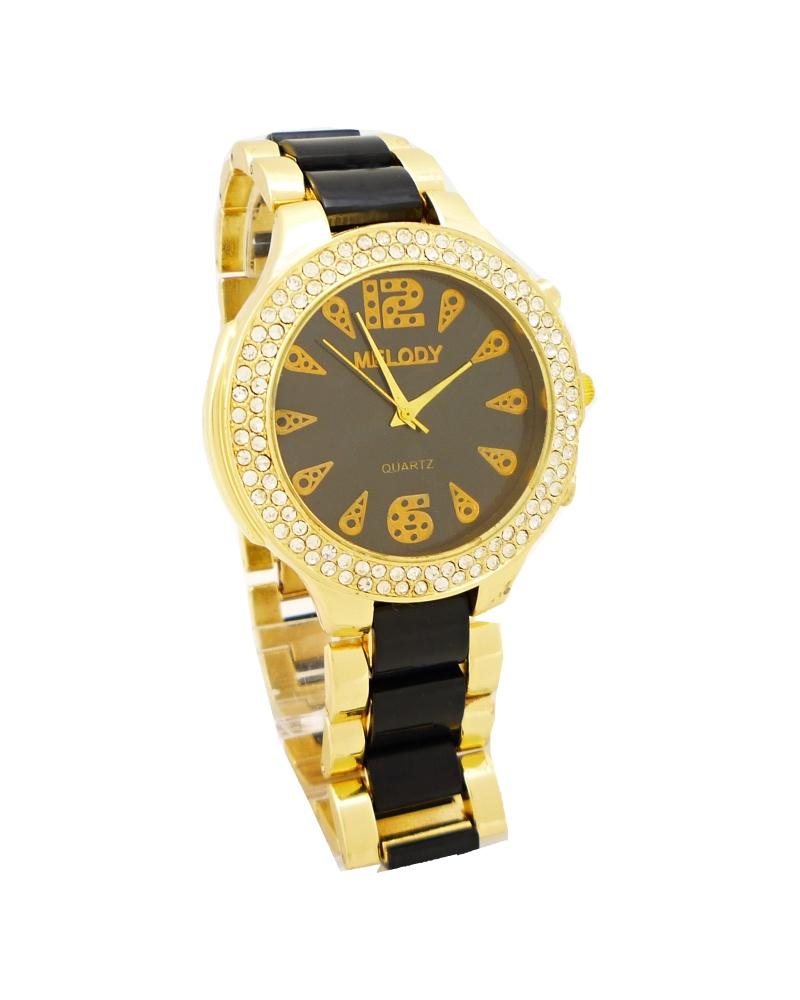 Dámské hodinky Melody Extravagans černo-zlaté 035D f0a3f6b719
