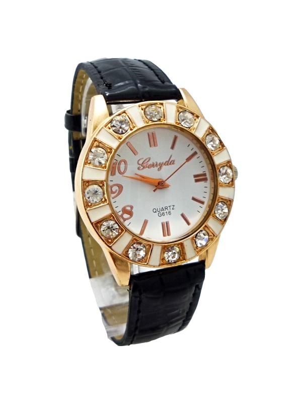 Dámské kožené hodinky GERYDA Black gold 252D