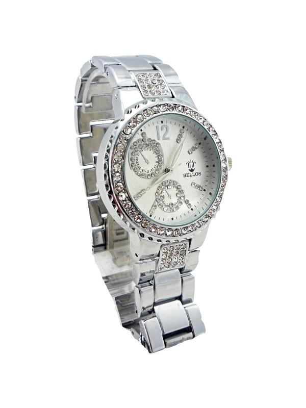 Dámské stříbrné hodinky zdobené křišťály BELLOS silver 298D
