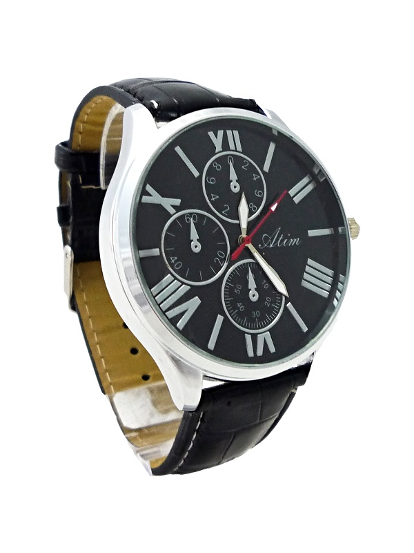 Černé kožené hodinky ATIM 092P