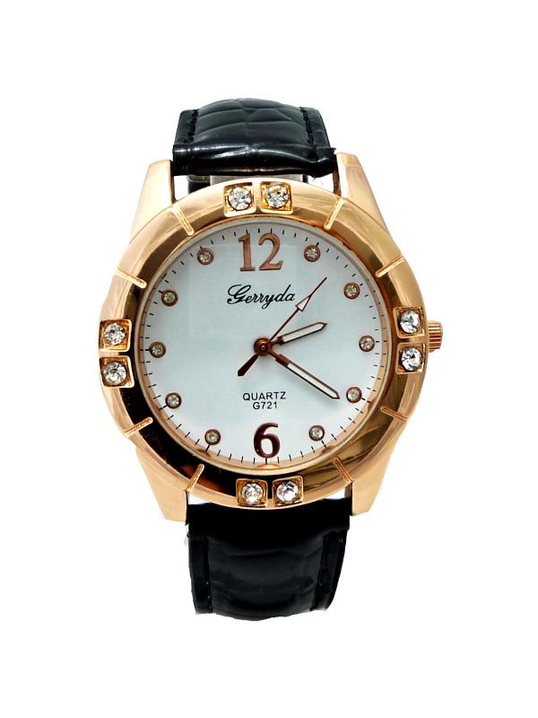 Dámské kožené hodinky Geryda černé 311D