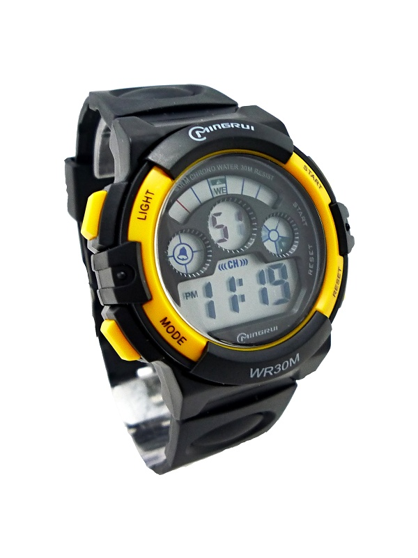 Pánské digitální hodinky Mingrui černo-žluté 280P