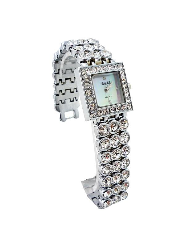 Dámské hodinky s kamínky ERNEST Quartz SILVER white 290D